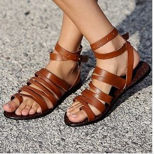 FREE PEOPLE SUNEVER STRAPPY BROWN STUDDED SANDAL
